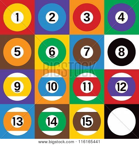 Pop-art styled checkerboard design of all 16 billiards balls.