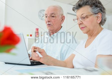 Elderly couple on computer, wife holding credit card