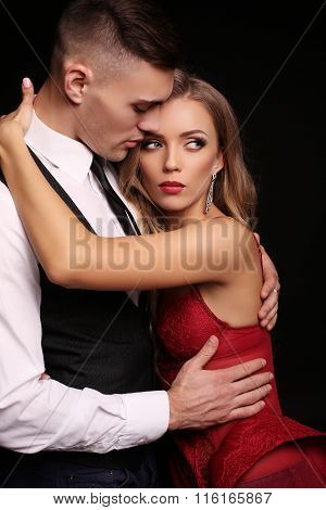 Love Story. Beatiful Sexy Couple. Gorgeous Blond Woman And Handsome Man
