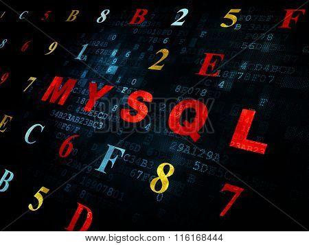 Database concept: MySQL on Digital background