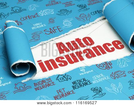 Insurance concept: red text Auto Insurance under the piece of  torn paper