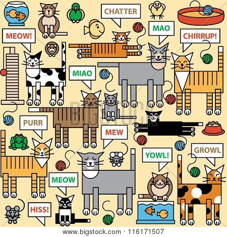 What Cats Say repeating pattern of cats and what they say and think about.