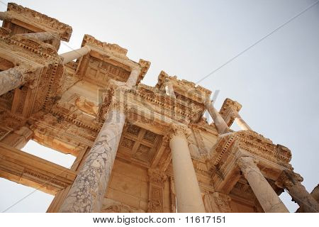 Looking Up At The Details Of Celsus Library Ephesus