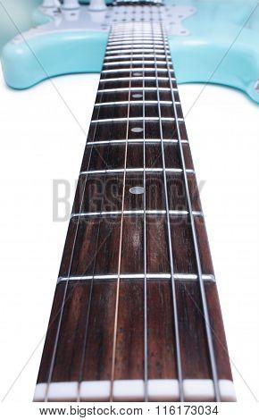 Blue Electric Guitar With Big Fretboard