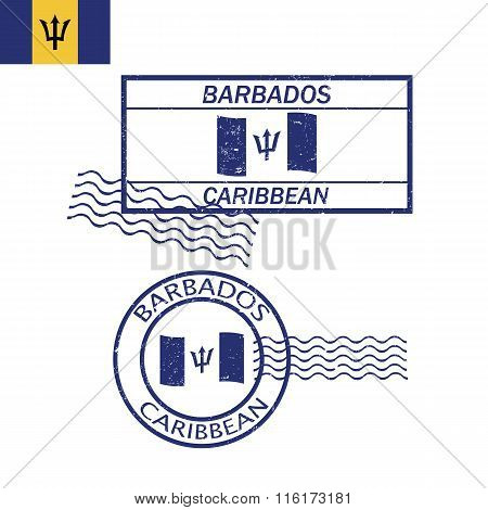 Barbados Caribbean Flag And Stamp