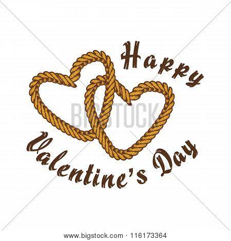 valentine vintage brown rope theme vector art illustration