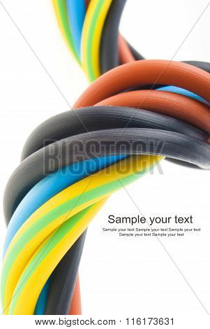 closeup of a electric cable on a white background. (selective focus)