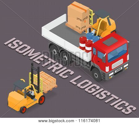 Process of loading and unloading the trucks with a forklift