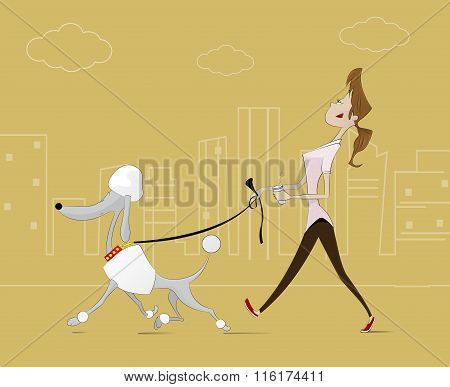 Illustration Of  Woman Taking  Walk With The Dog