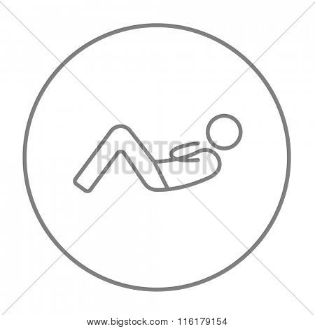 Man doing abdominal crunches line icon.