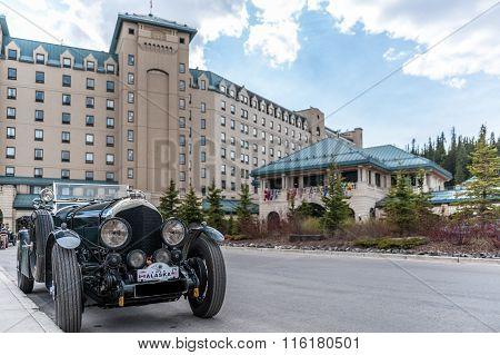 Chateau Lake Louise Hotel  With Antique Car