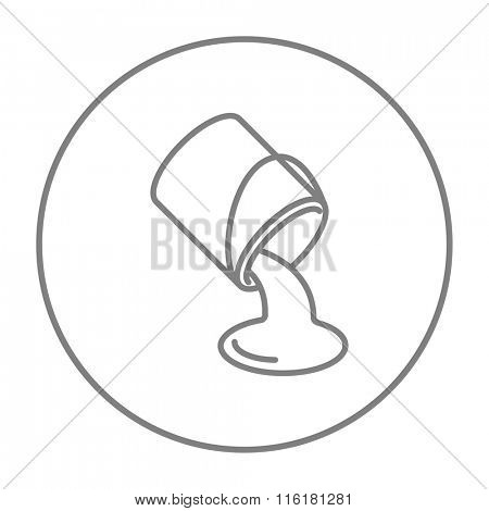 Paint pouring from bucket line icon.