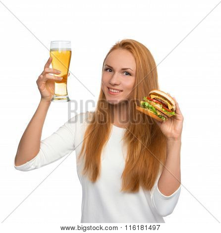 Happy Young Woman With Lager Beer Mug And Burger Sandwich Hamburger In Hands