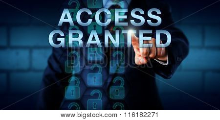 Corporate User Touching Access Granted Onscreen