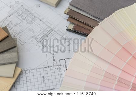 interior drawing with material color scheme design poster