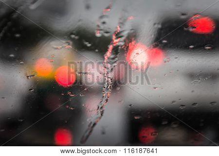 Defocussed Traffic Viewed Through A Car Windscreen