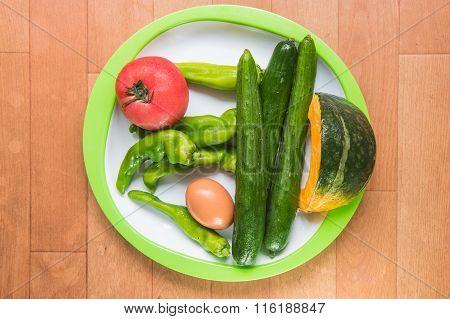 Japan Vegetables On Plate On Woodden Floor