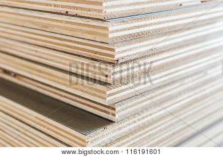 Layer Of Plywood In Construction Site