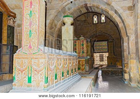 Cairo, Egypt - January 6, 2015: Tombs of Mamelukes City of Dead Historic Cairo UNESCO World Heritage List Egypt. The Tombs of Mohammad Ali's Family.