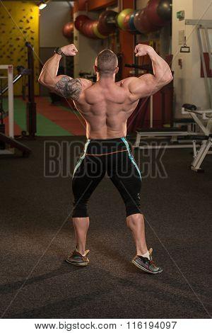 Muscular Men Is Hitting Rear Double Bicep Pose