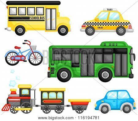 Land Transportation Vector Set