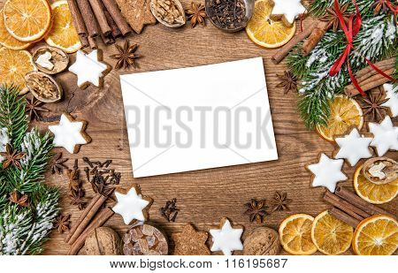 Christmas Cookies And Spices. Holidays Food Background