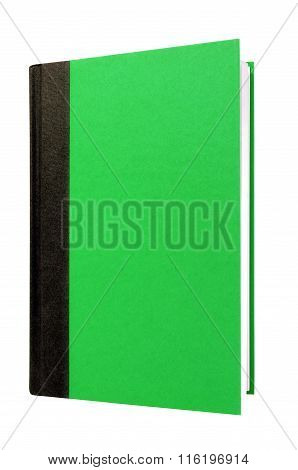 Bright Green Hardcover Book Front Cover Upright Vertical Isolated On White