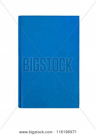 Bright  Blue Plain Hardcover Book Front Cover Upright Vertical Isolated On White