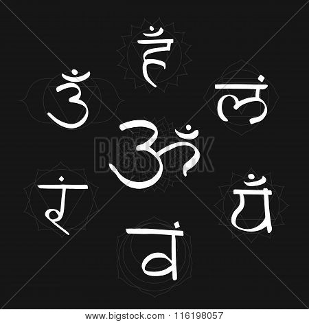 The seven bija mantras with chakras set style white on the black background. Linear character illustration of Hinduism and Buddhism. For design associated with yoga and India.