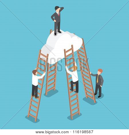 Isometric Businessman Standing On The Cloud And Look Around