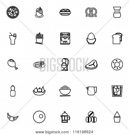Easy Meal Line Icons On White Background