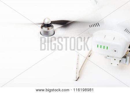 Engine and propeller of a drone isolated on white background poster