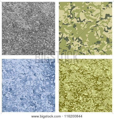 Set of 4 different color military texture background.