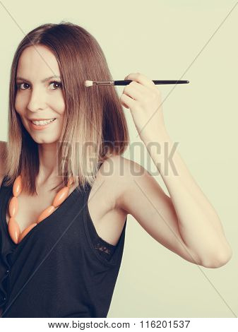 Woman Stylist Applying Eyeshadow With Brush.