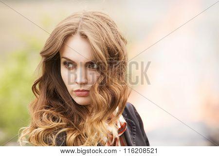 Horizontal Portrait Of A Beautiful Girl
