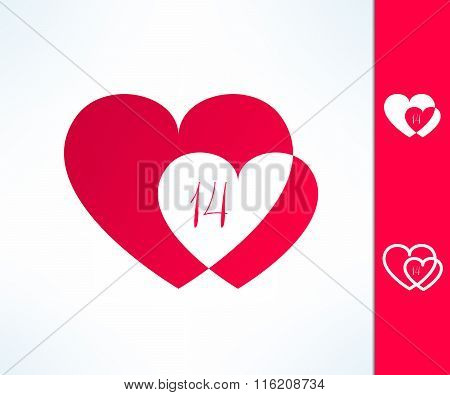 Set of vector valentines couple sign with two hearts and fourteen date inside. Love and romance desi