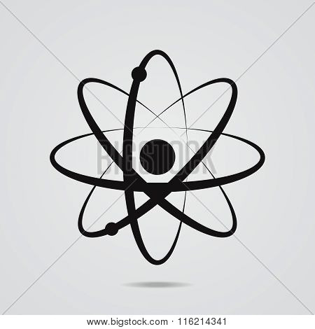 The Atomic Model Icon Flat Style.