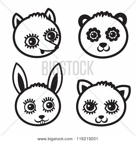 Cartoon Animal Face Element. Cartoon Forest Animals Pack. Vector Black Icon Set On White Background. Animal Face Masks. Forest Animals Stickers. Fox Vector. Panda Vector. Bunny Vector. Kitten Vector.