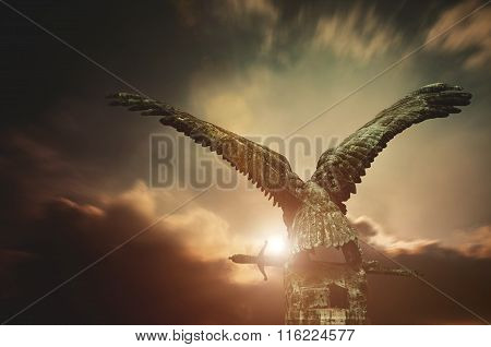 Turul Bird With A Sword With Apocalyptic Sky