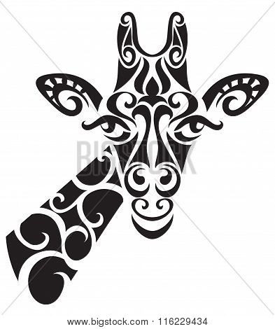 Decorative ornamental giraffe silhouette.