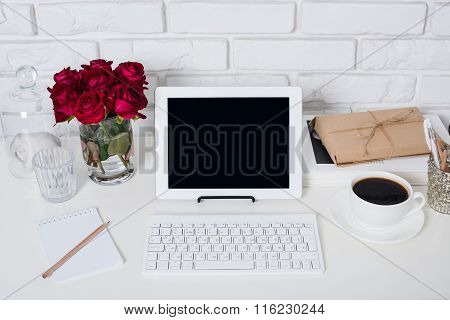Young business woman workspace