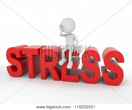 White 3D Human Sitting On Stress Text