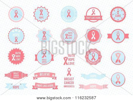Vector badges collection. Design elements. Breast cancer awareness.