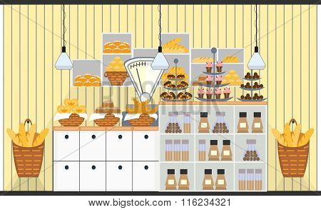 Bakery counter with scales and different types of bakery products