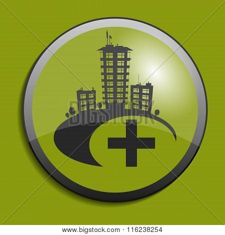 Abstract Real Estate Symbol On Circle Button. Vector