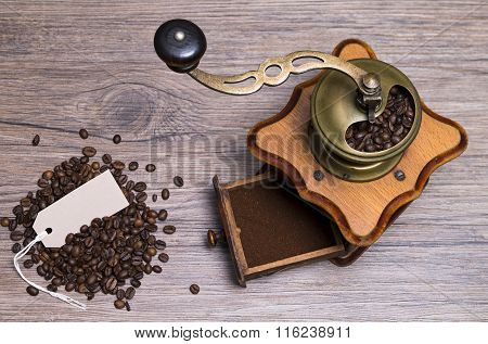 Coffee Grounds With Label