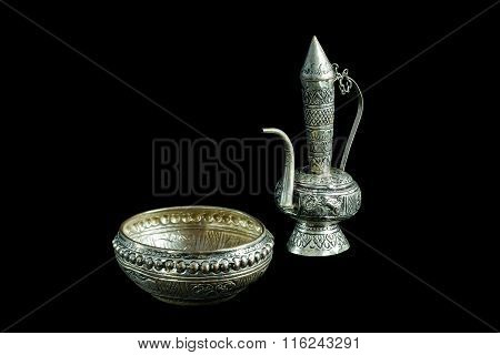 Old Silver Ewer Container Pour Water, Buddhism
