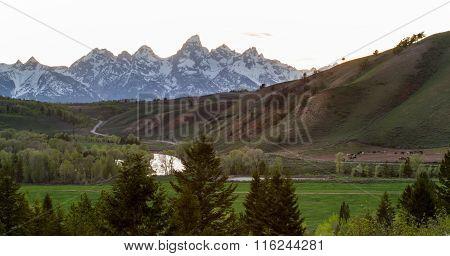 Sunset Teton Mountains Peaceful Pasture Ranch