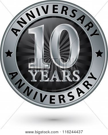 10 Years Anniversary Silver Label, Vector Illustration