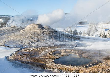 Yellowstone Geysers And Hot  Springs In Winter